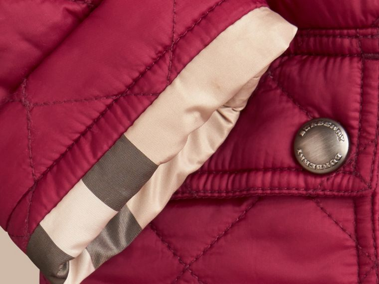 Quilted Jacket with detachable hood in Fritillary Pink - Girl | Burberry - cell image 1