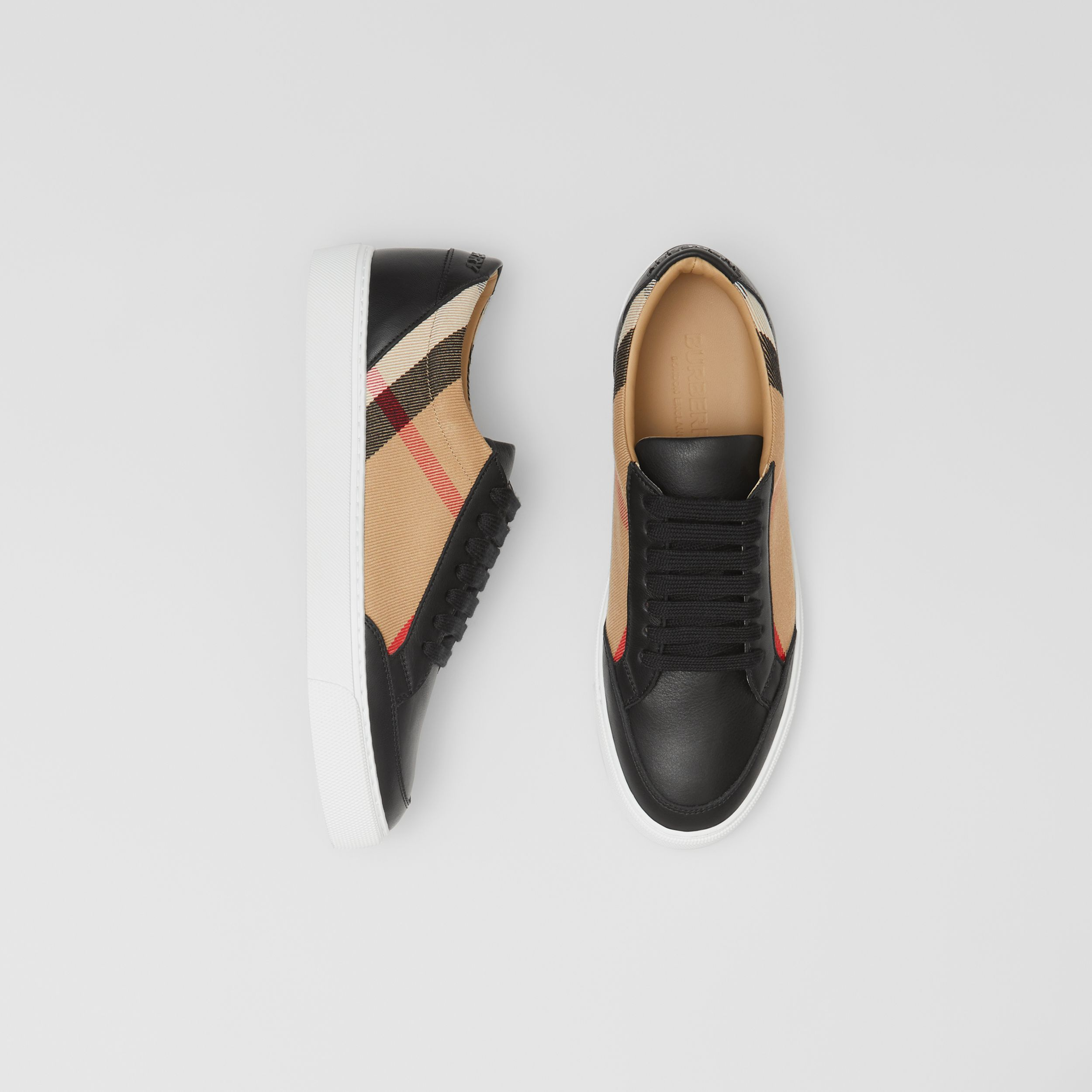 House Check and Leather Sneakers in Black - Women | Burberry - 1