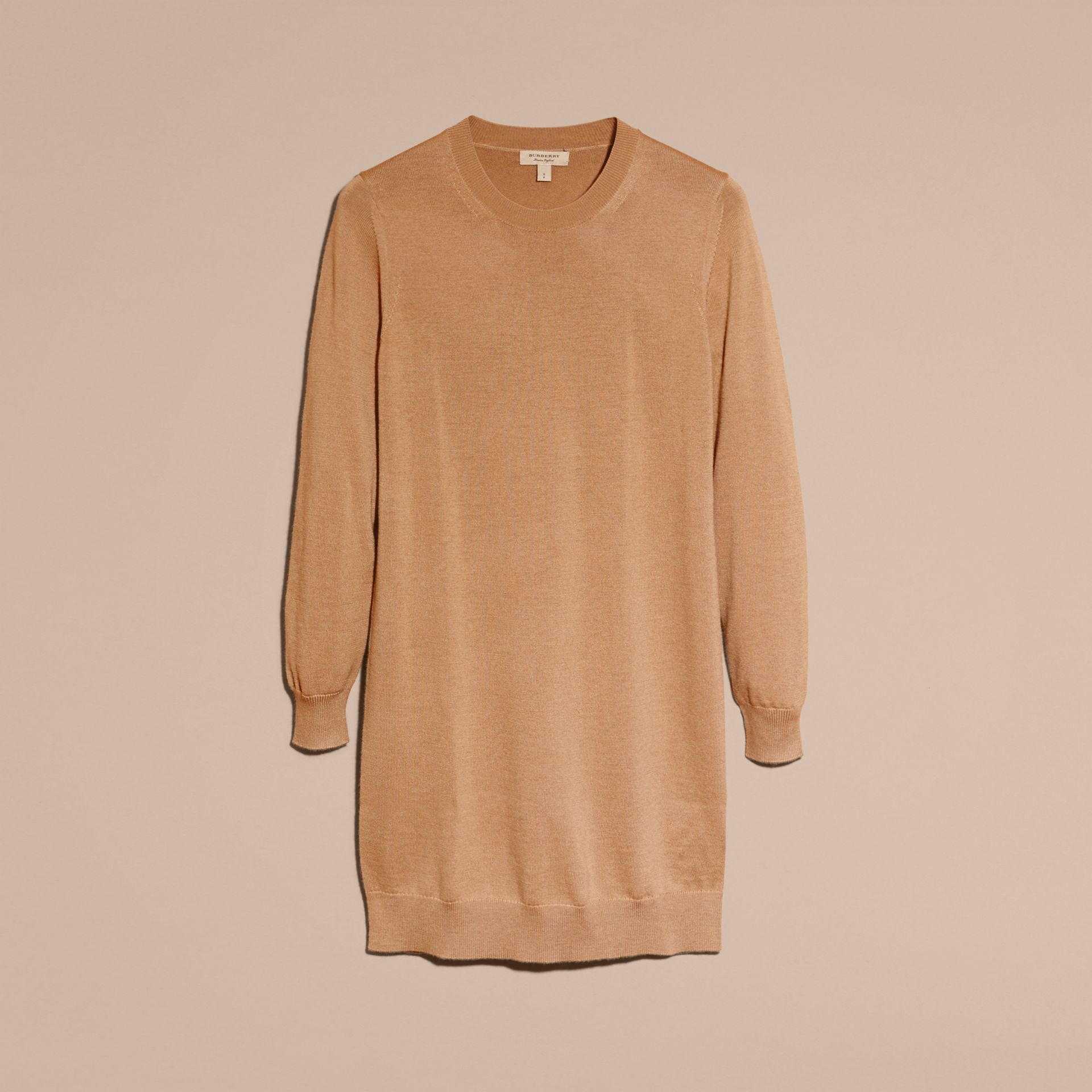 Check Elbow Detail Merino Wool Sweater Dress in Camel - gallery image 4