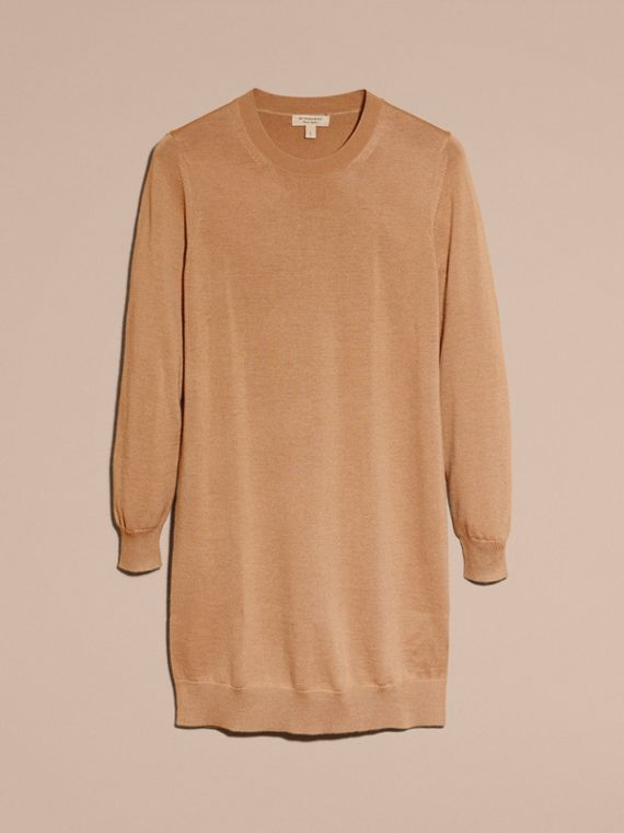 Check Elbow Detail Merino Wool Sweater Dress Camel - cell image 3