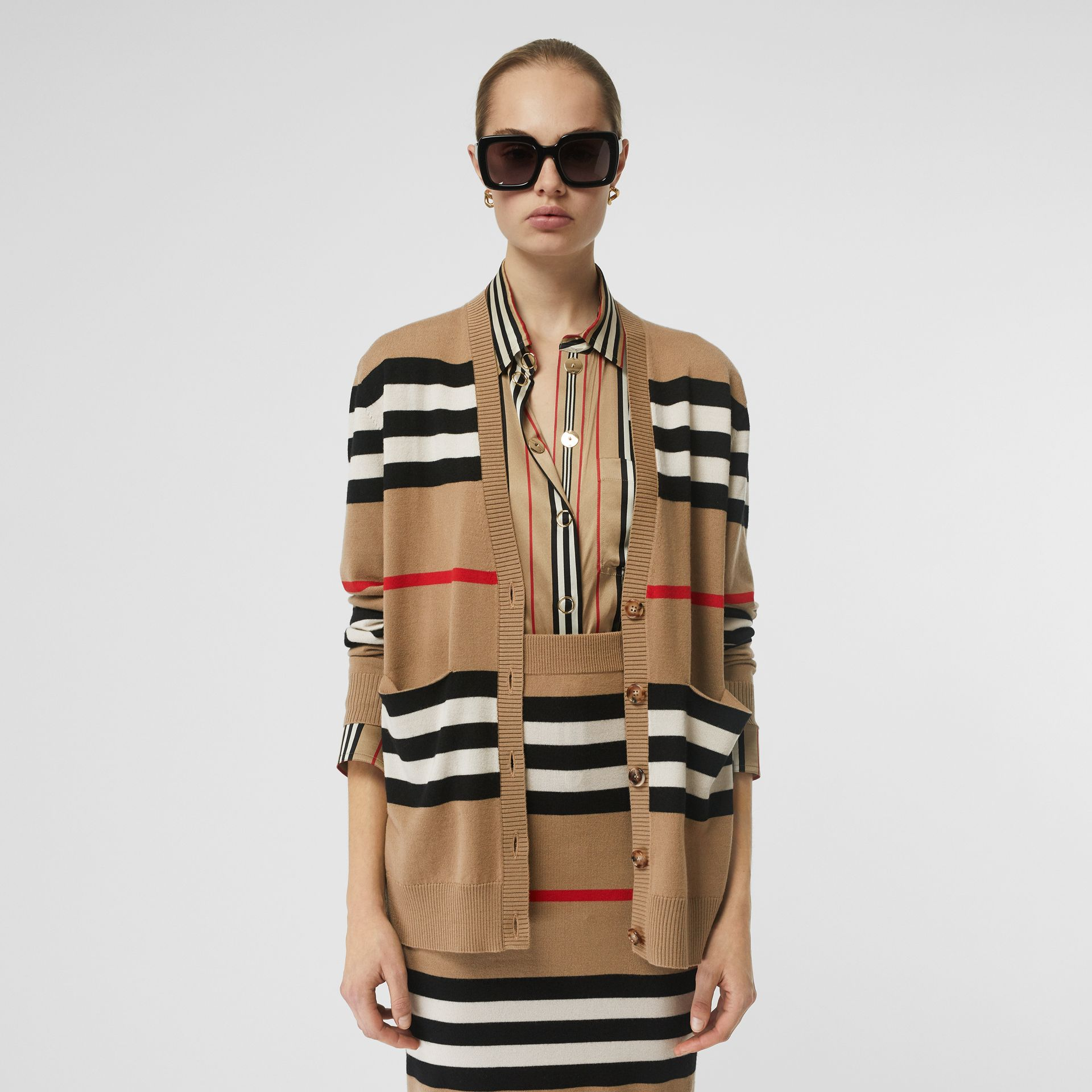 Icon Stripe Merino Wool Cardigan in Archive Beige - Women | Burberry - gallery image 4