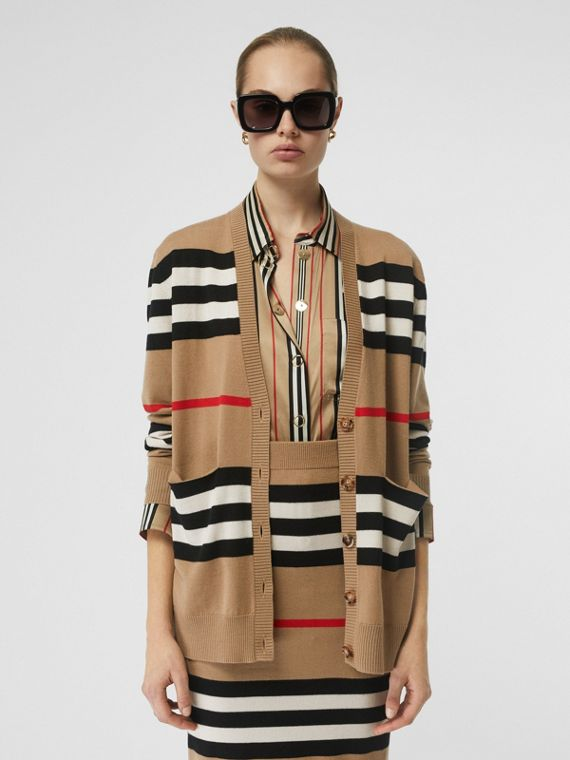 Icon Stripe Merino Wool Cardigan in Archive Beige