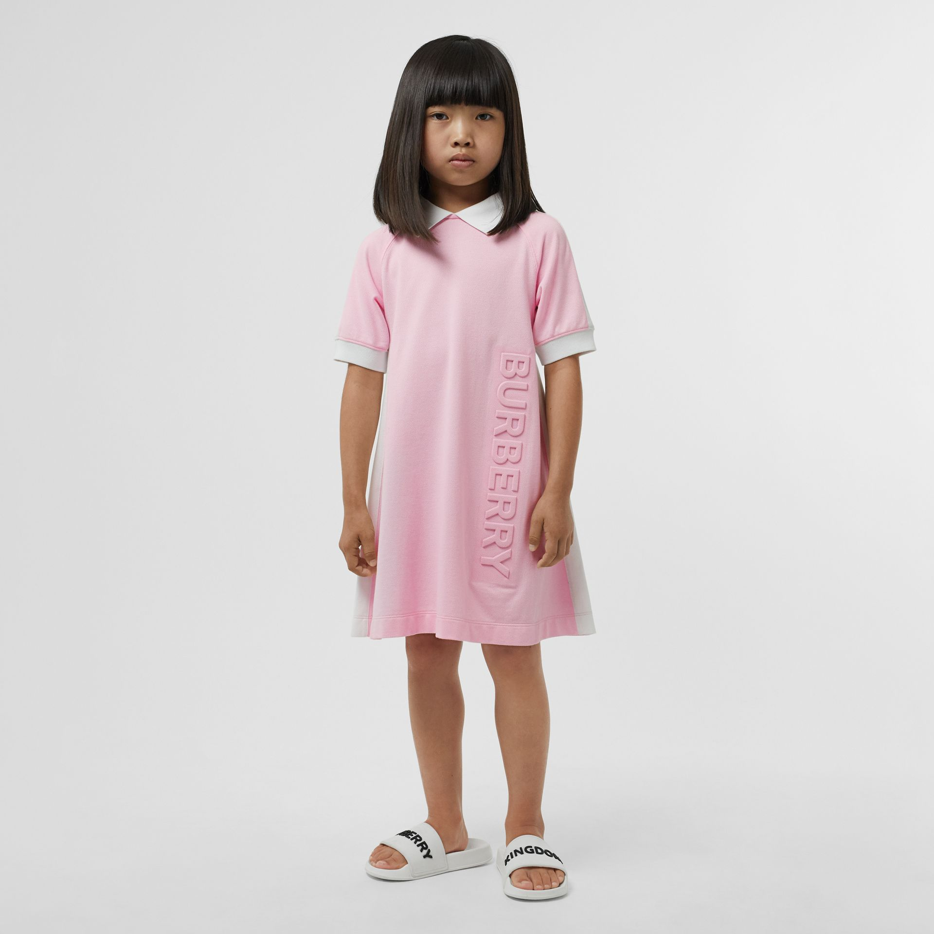 Embossed Logo Cotton Piqué Polo Dress in Pale Neon Pink | Burberry - gallery image 2