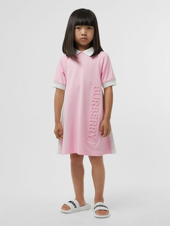Embossed Logo Cotton Piqué Polo Dress in Pale Neon Pink