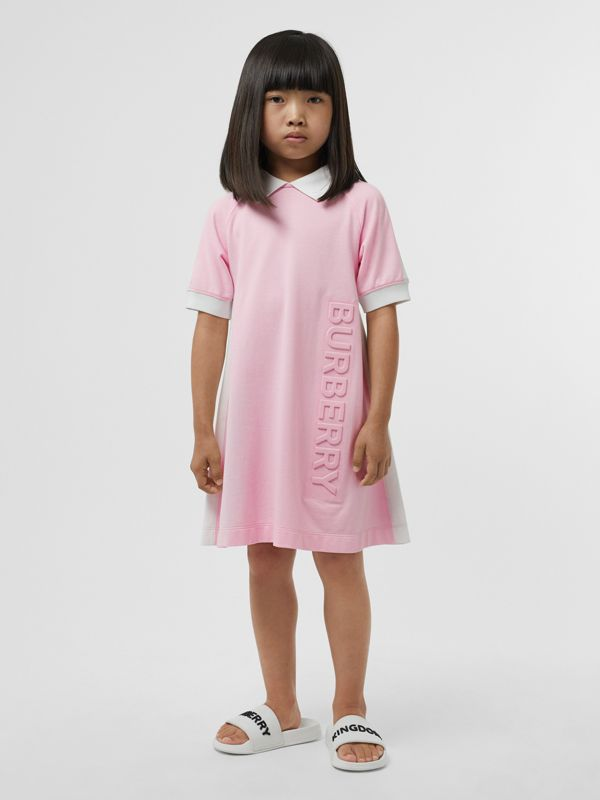 Embossed Logo Cotton Piqué Polo Dress in Pale Neon Pink | Burberry - cell image 2