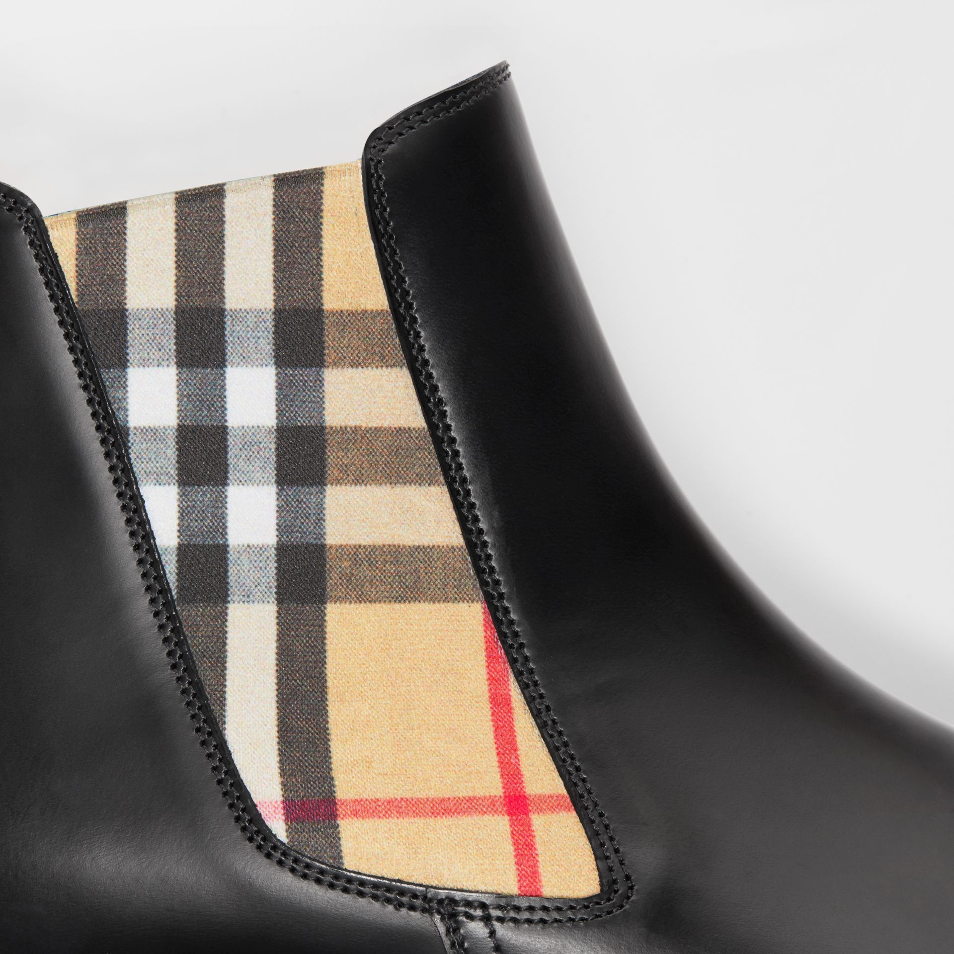Vintage Check Detail Leather Chelsea Boots in Black - Women | Burberry - gallery image 1
