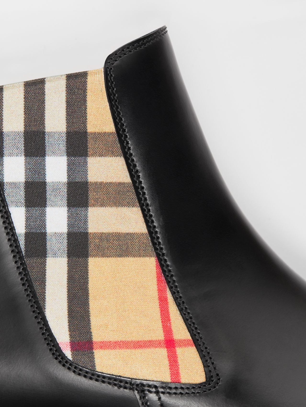 Vintage Check Detail Leather Chelsea Boots in Black