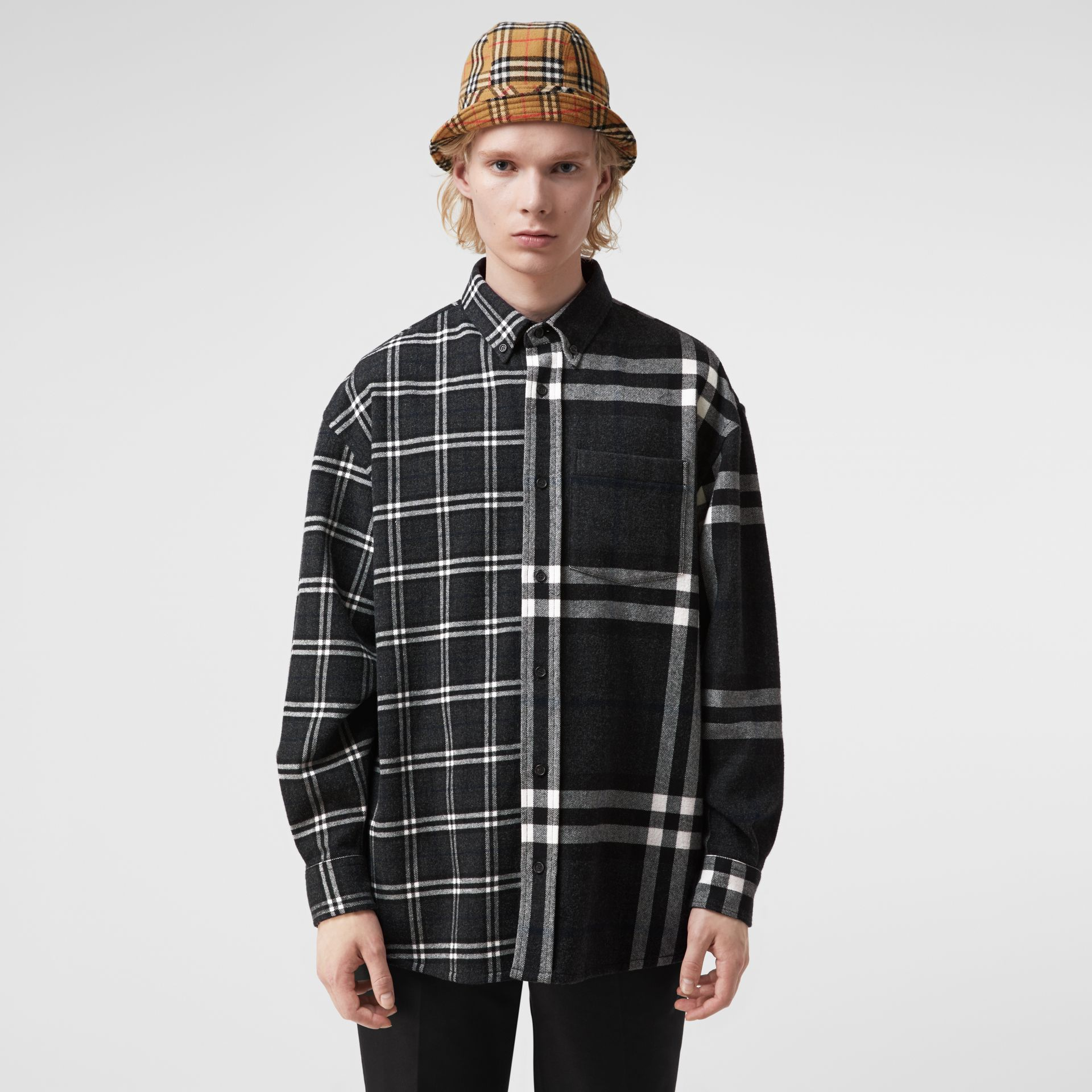 Gosha x Burberry Check Flannel Shirt in Charcoal | Burberry United States - gallery image 4