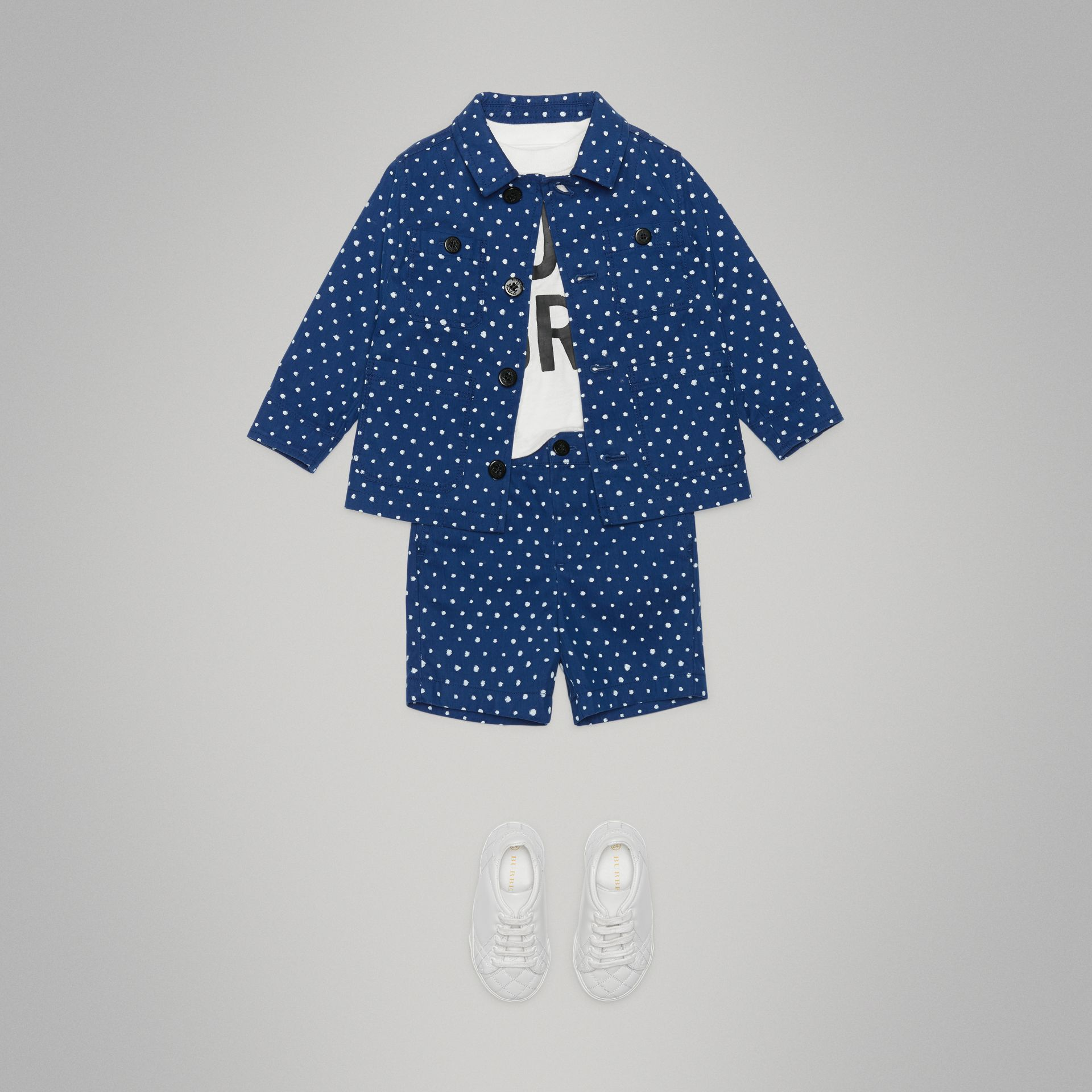 Spot Print Cotton Blend Jacket in Bright Navy - Children | Burberry United Kingdom - gallery image 2