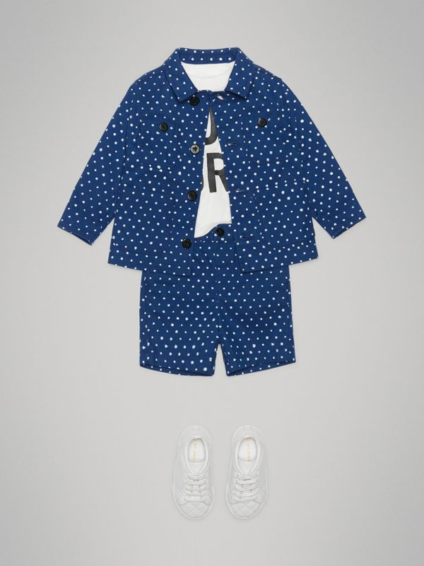 Spot Print Cotton Blend Jacket in Bright Navy - Children | Burberry - cell image 2
