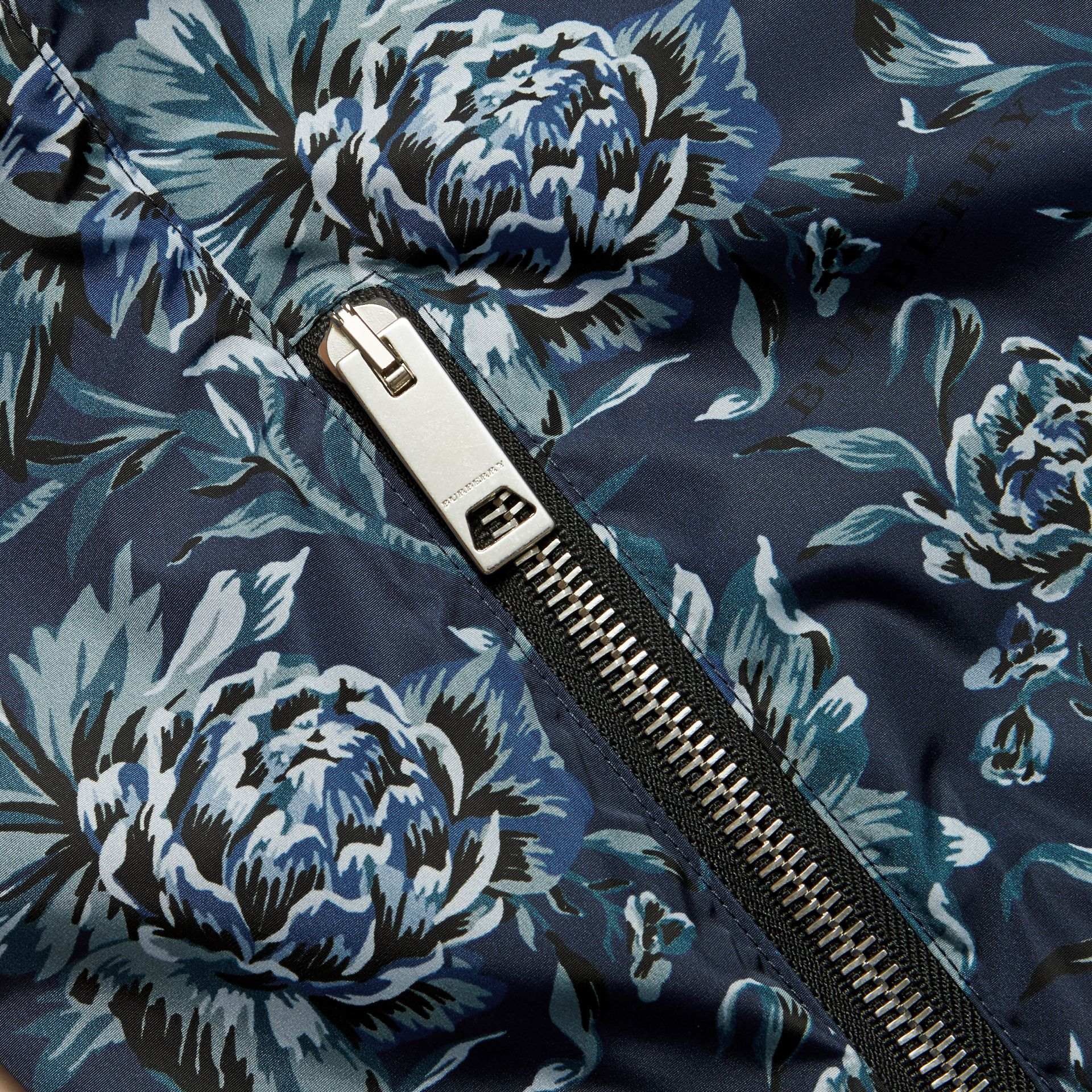 Ink blue Peony Rose Print Lightweight Jacket - gallery image 2