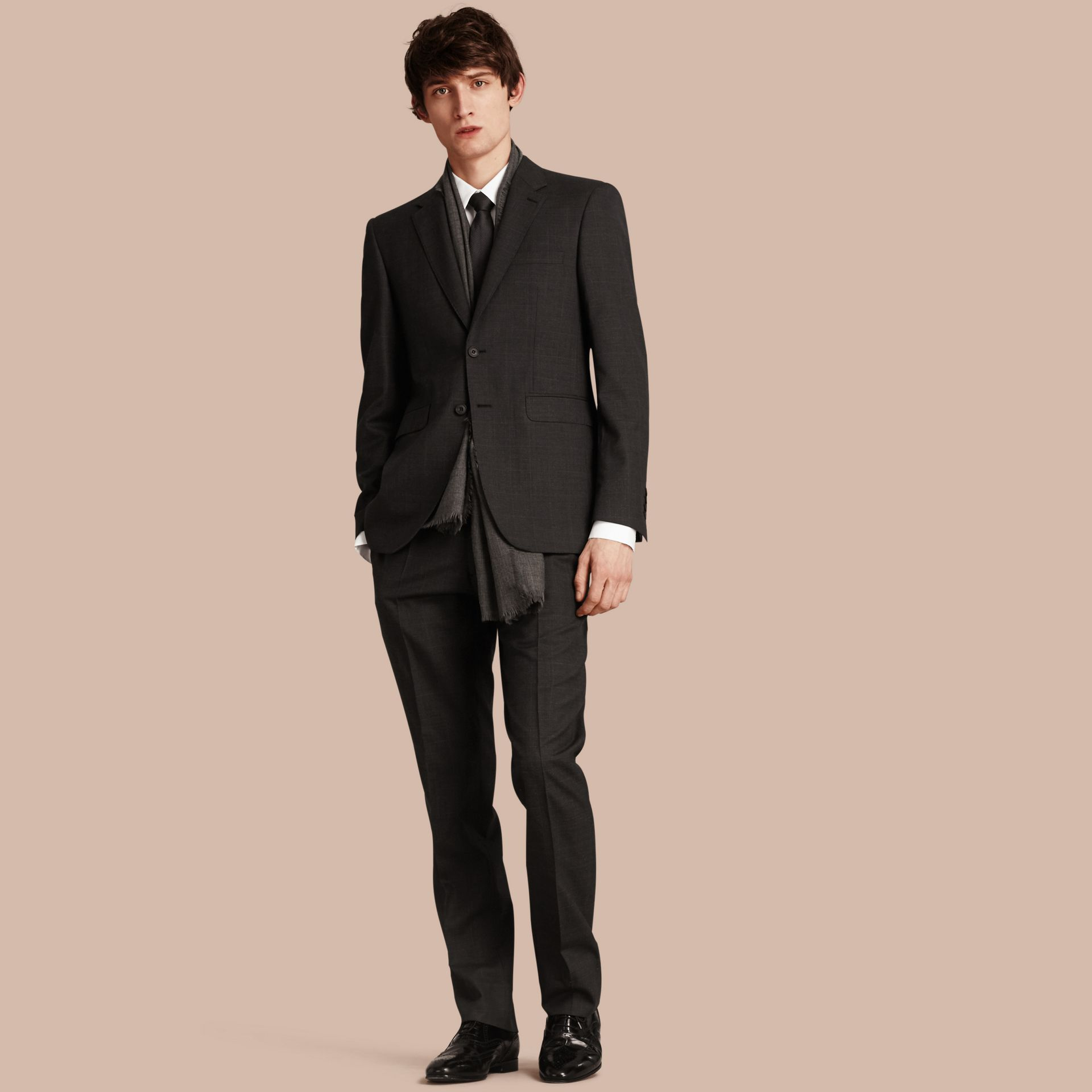 Charcoal Modern Fit Check Wool Part-canvas Suit Charcoal - gallery image 1
