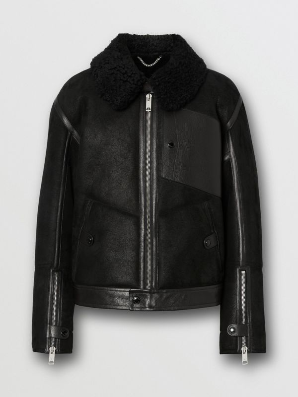 Shearling and Leather Jacket in Black - Men | Burberry Singapore - cell image 3