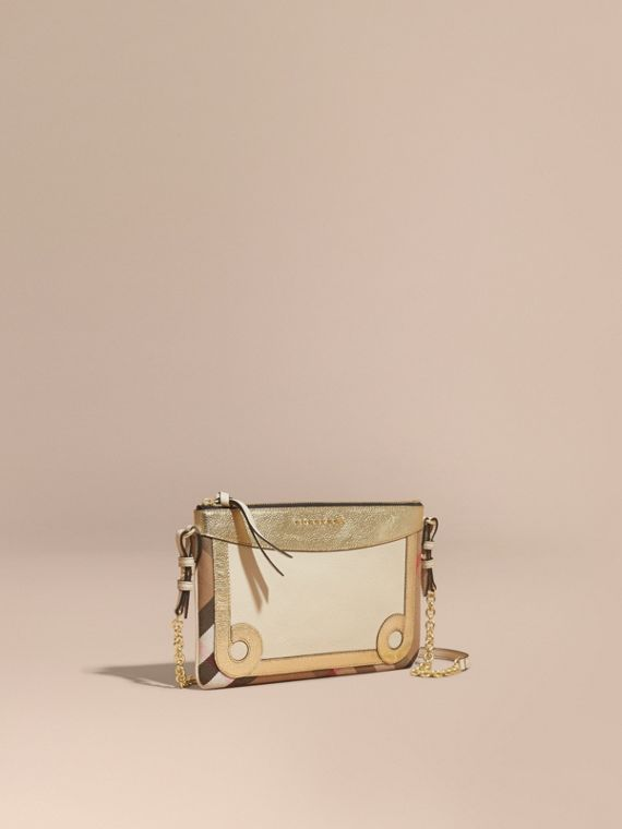 House Check and Leather Clutch Bag Limestone