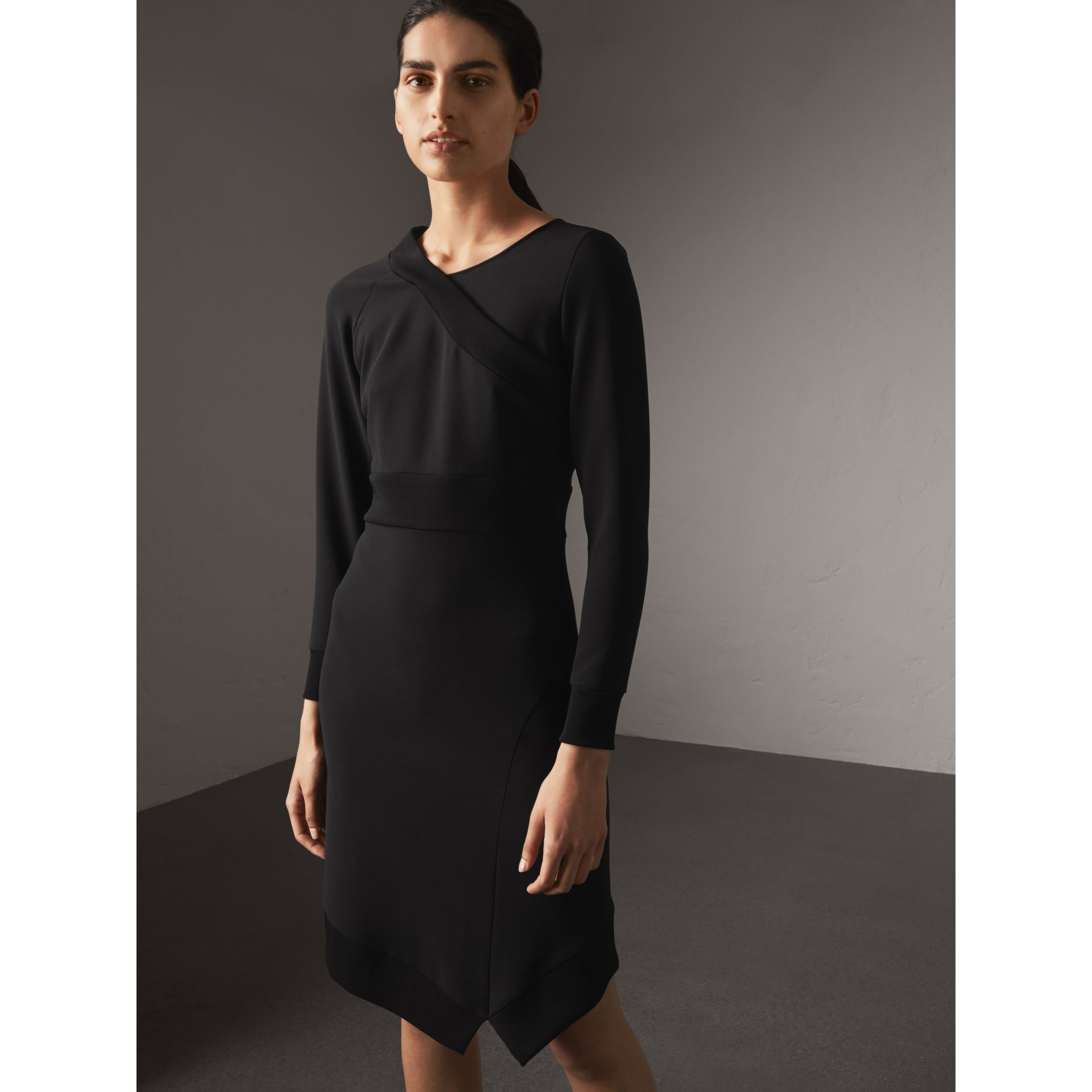 Ribbed Trim Crepe Asymmetric Dress in Black - Women | Burberry - gallery image 1