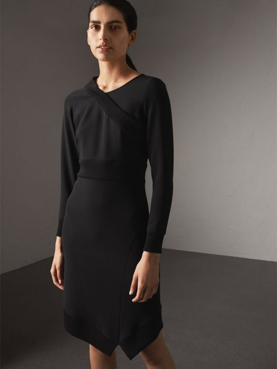Ribbed Trim Crepe Asymmetric Dress in Black