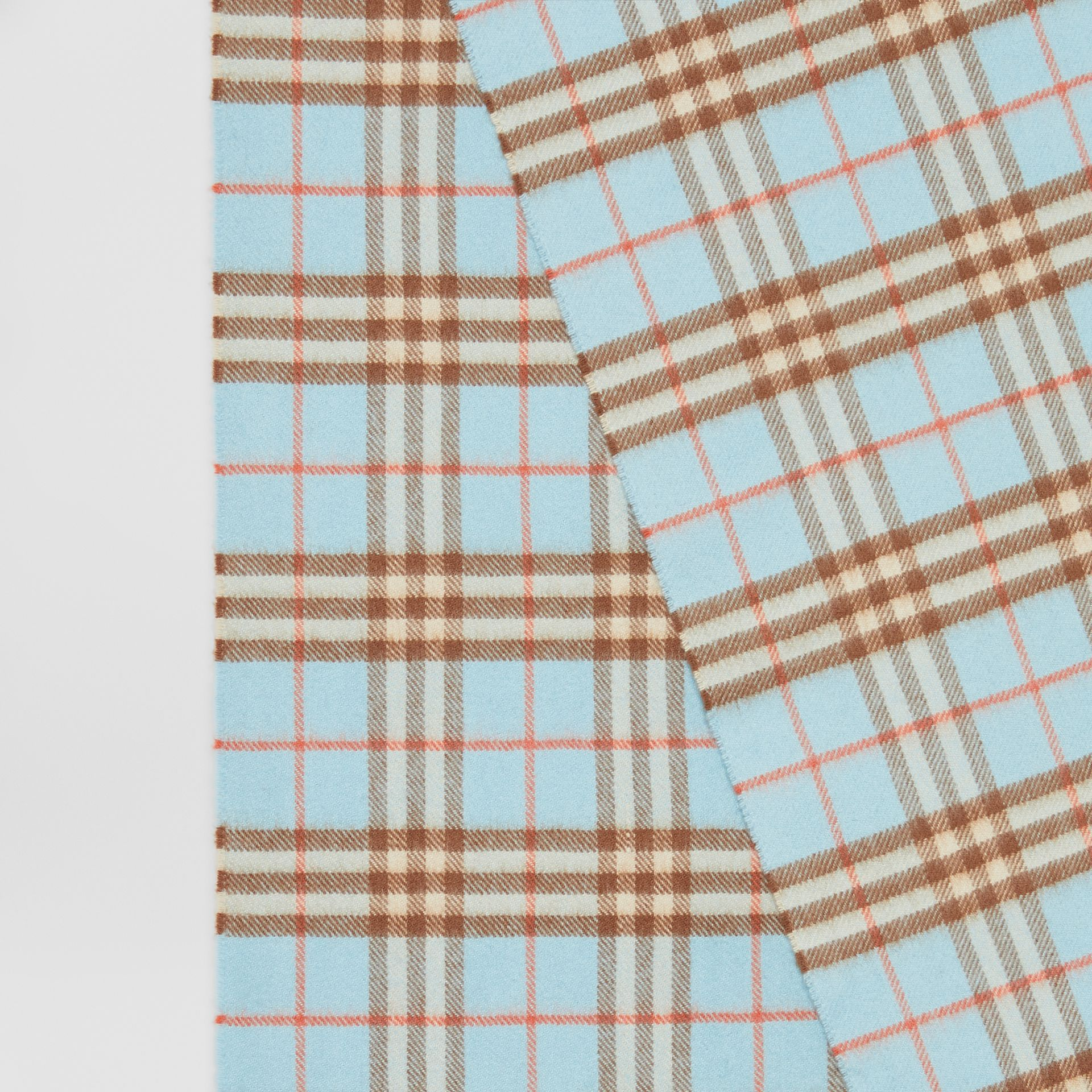 The Classic Vintage Check Cashmere Scarf in Pale Peridot Blue | Burberry - gallery image 1