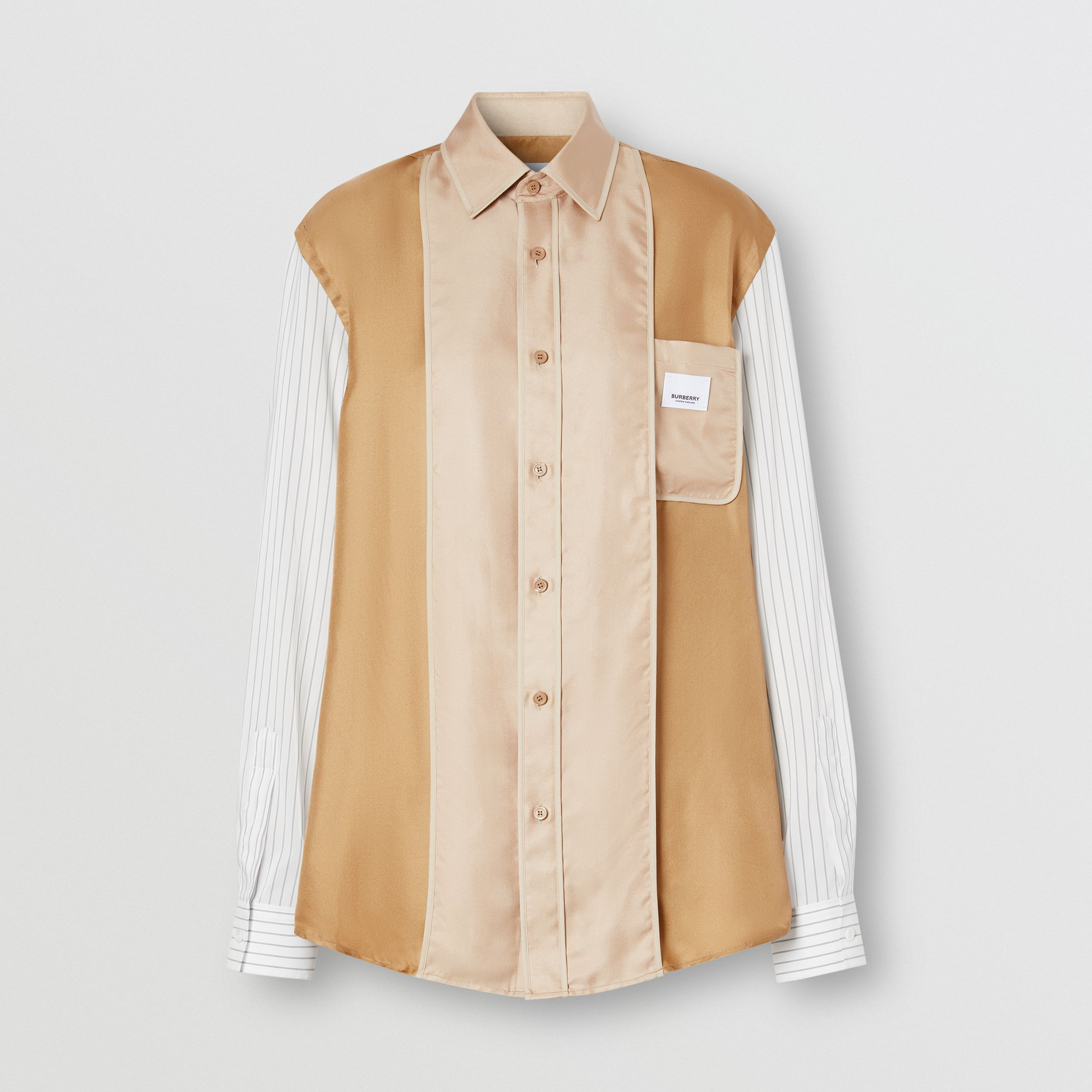 Logo Appliqué Pinstriped Sleeve Silk Shirt in Camel - Women | Burberry - 2