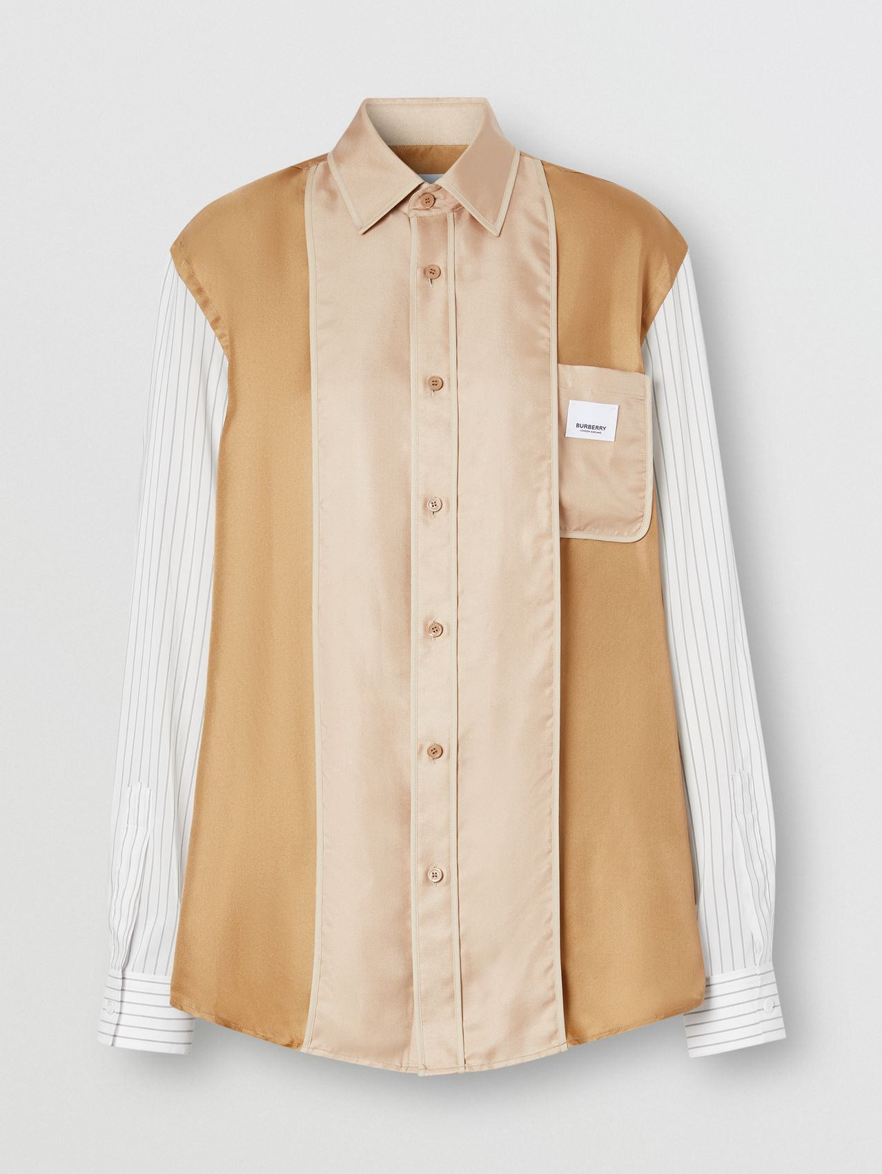 Logo Appliqué Pinstriped Sleeve Silk Shirt in Camel