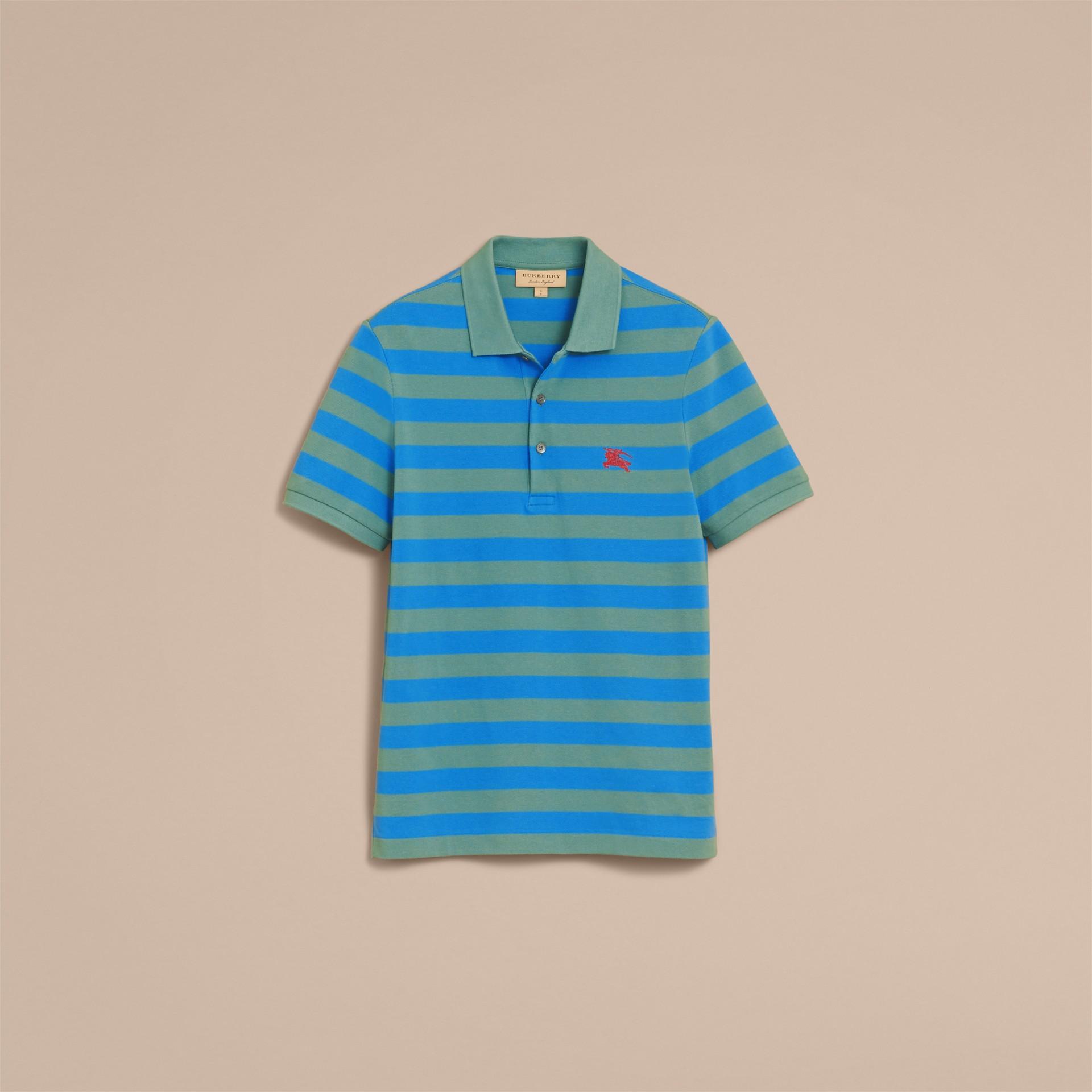 Striped Cotton Polo Shirt Eucalyptus Green/chalk Blue - gallery image 4