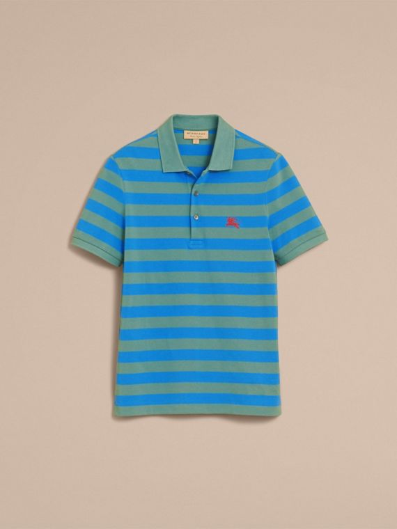 Striped Cotton Polo Shirt Eucalyptus Green/chalk Blue - cell image 3