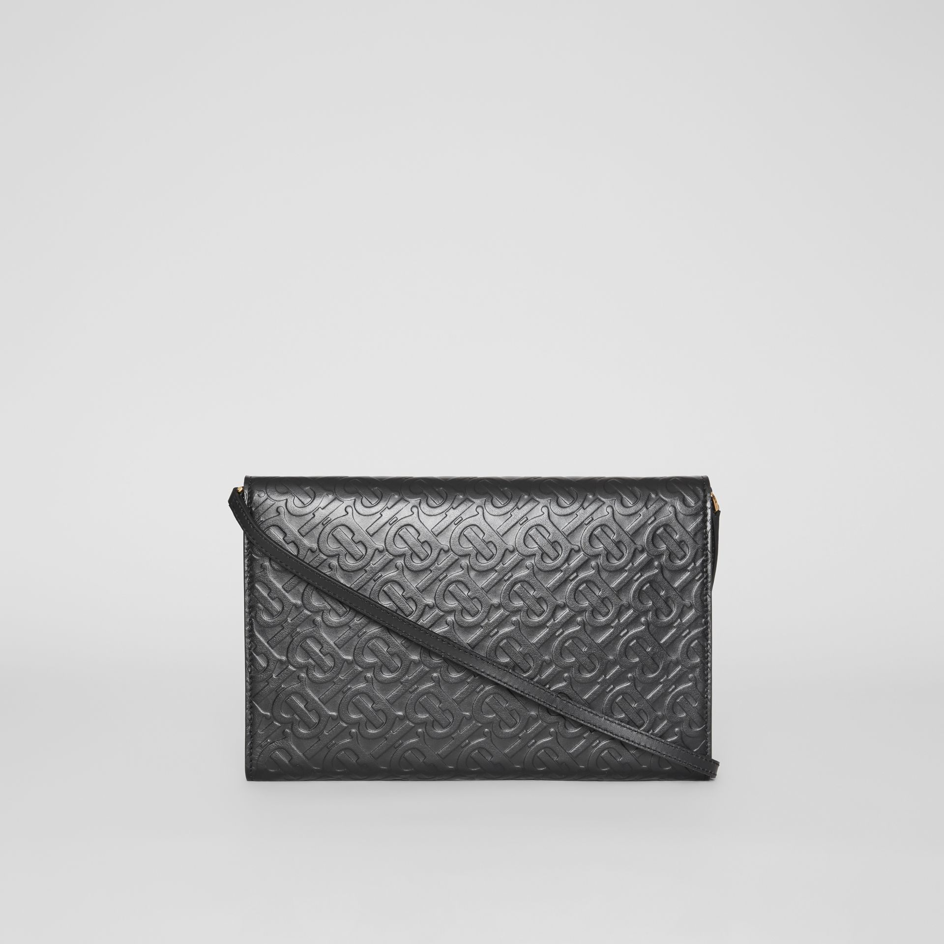 Monogram Leather Bag with Detachable Strap in Black - Women | Burberry United Kingdom - gallery image 7