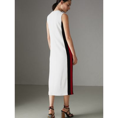 Stripe Detail Crepe Shift Dress - White Burberry At9onf