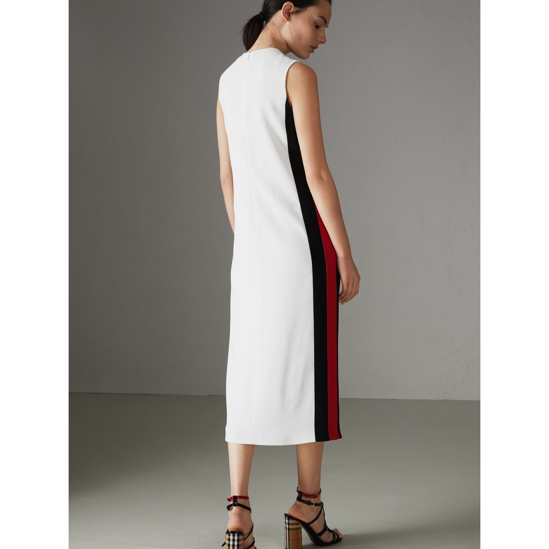 Stripe Detail Crepe Shift Dress in Natural White - Women | Burberry - gallery image 2