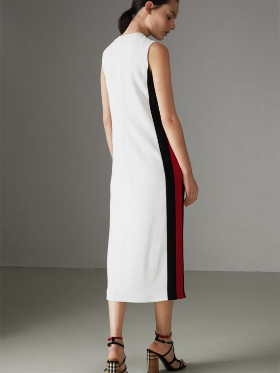 Stripe Detail Crepe Shift Dress in Natural White - Women | Burberry - cell image 2