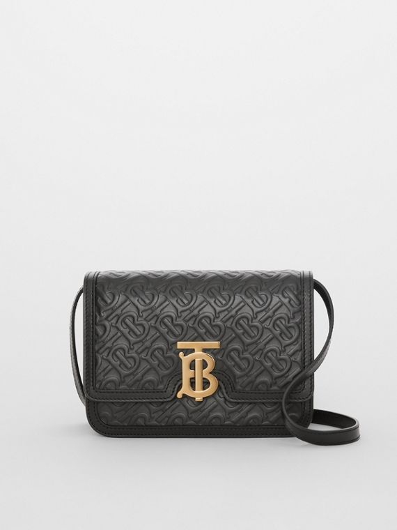 Small Monogram Leather TB Bag in Black