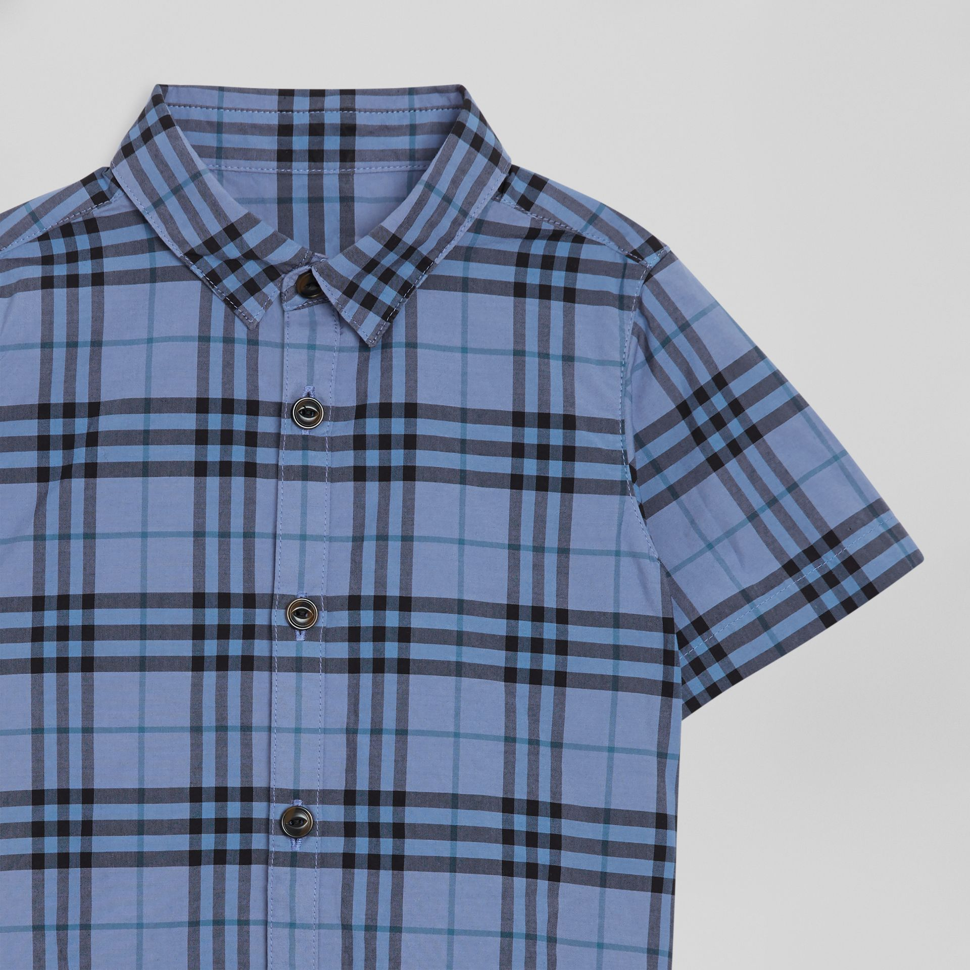 Short-sleeve Check Cotton Shirt in Dusty Blue | Burberry - gallery image 4