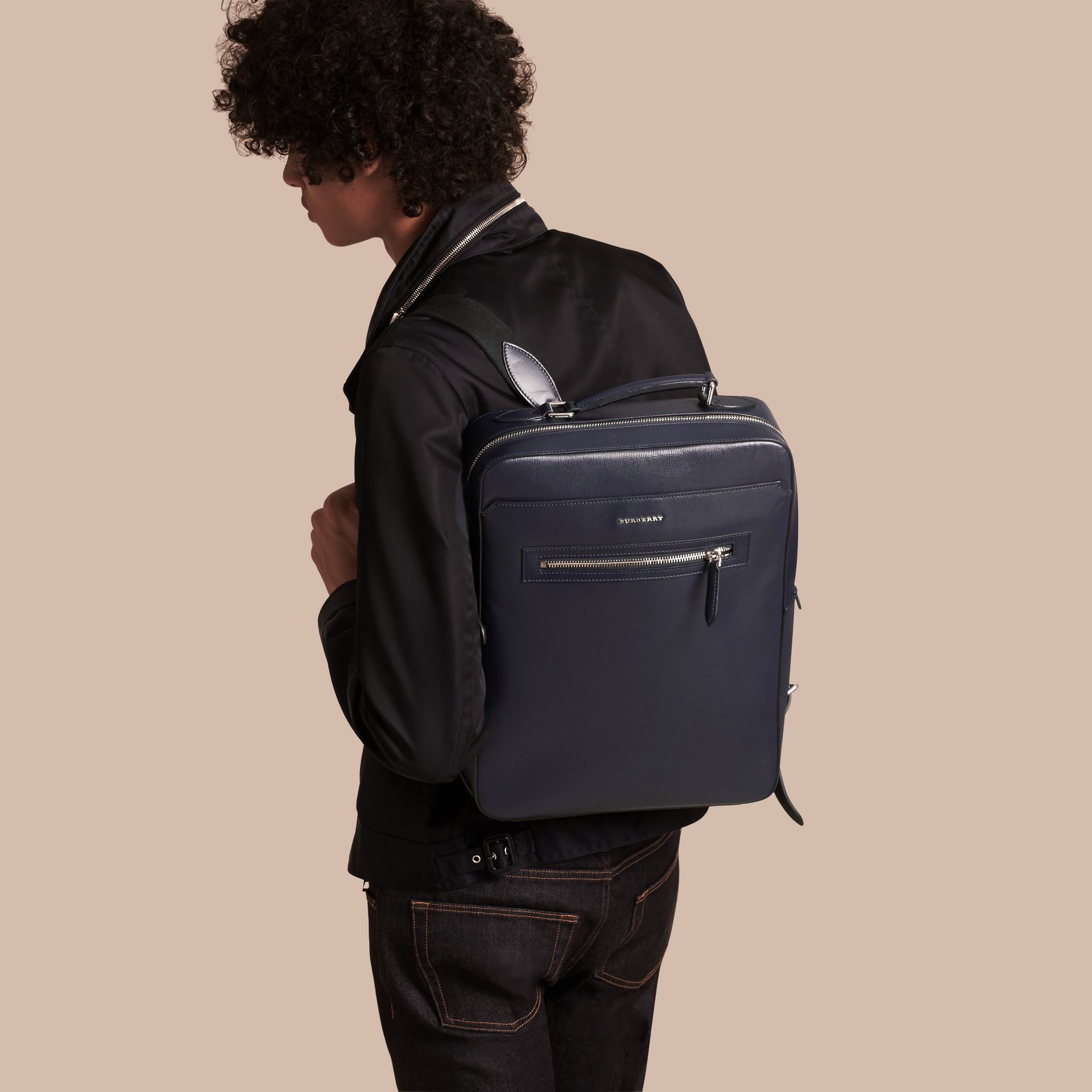 Dark navy London Leather Backpack Dark Navy - gallery image 3