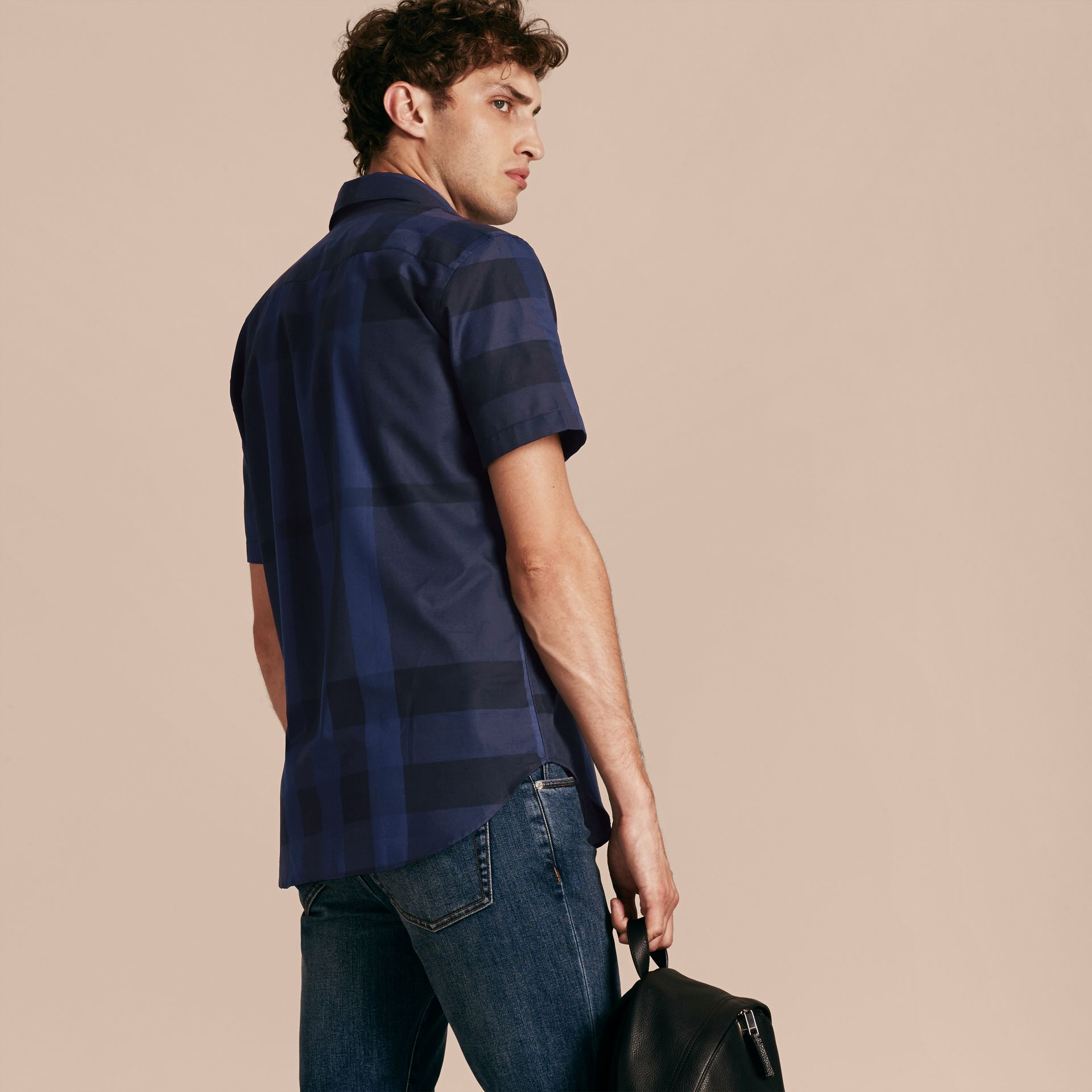 Navy Short-sleeved Check Cotton Shirt Navy - gallery image 3