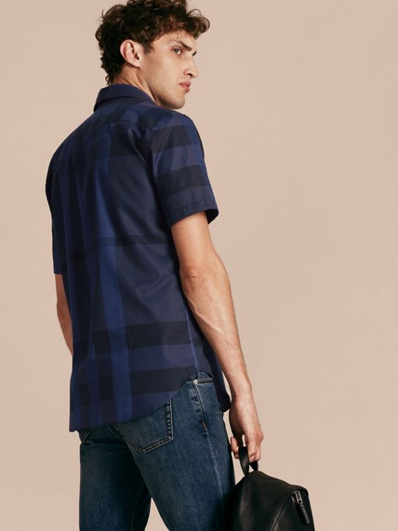Navy Short-sleeved Check Cotton Shirt Navy - cell image 2