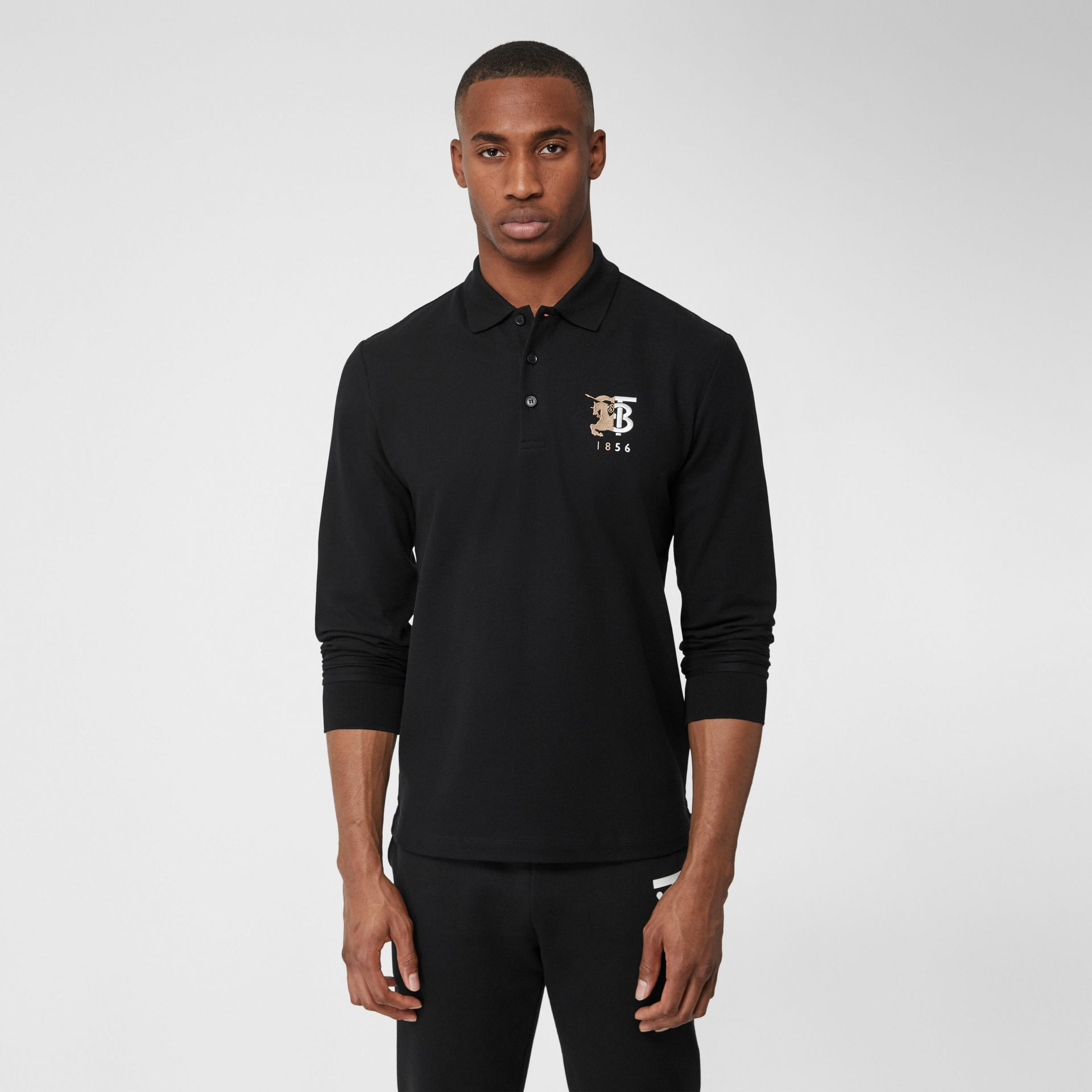 Long-sleeve Contrast Logo Graphic Cotton Polo Shirt in Black - Men   Burberry - gallery image 4