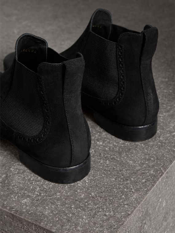 Brogue Detail Suede Chelsea Boots in Black - Men | Burberry - cell image 2