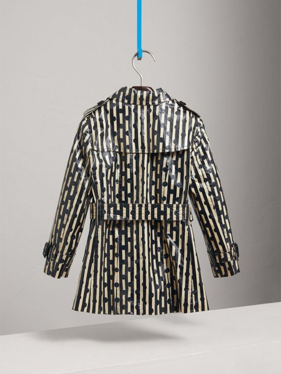 Laminated Spot and Stripe Print Trench Coat in Navy | Burberry - cell image 3