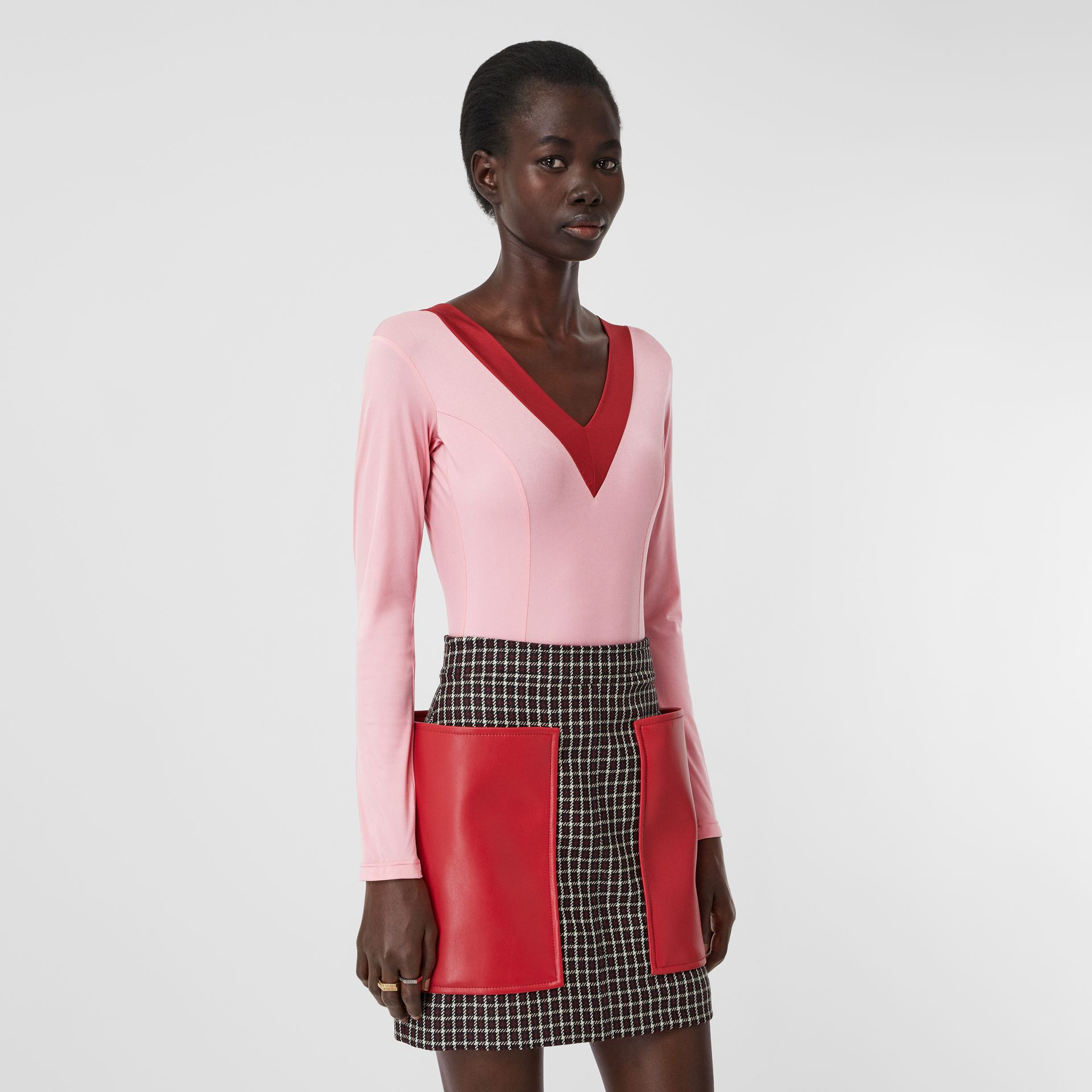 Two-tone Stretch Jersey Bodysuit in Pink - Women | Burberry - gallery image 3