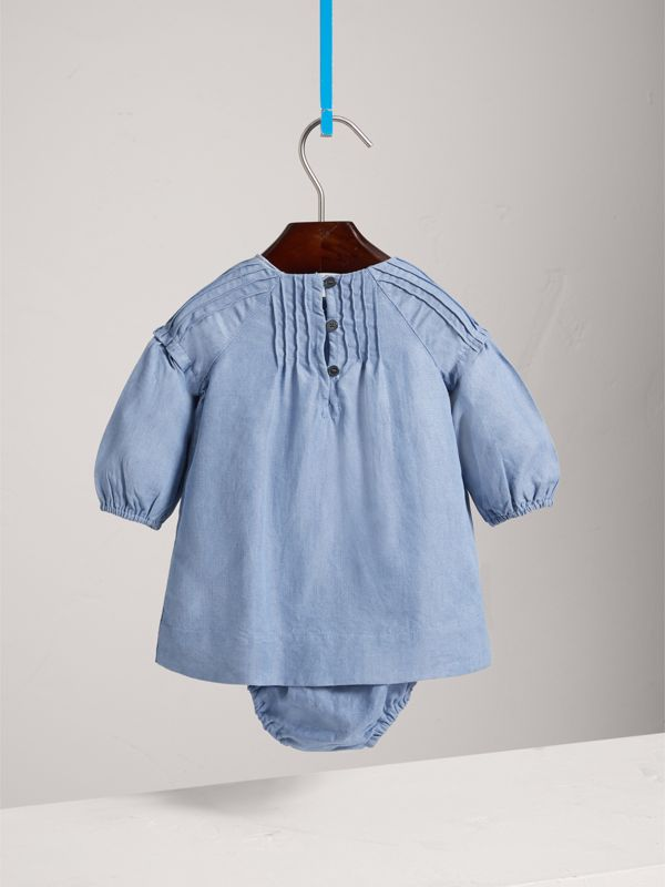 Pintuck Detail Chambray Dress with Bloomers in Steel Blue | Burberry United Kingdom - cell image 3