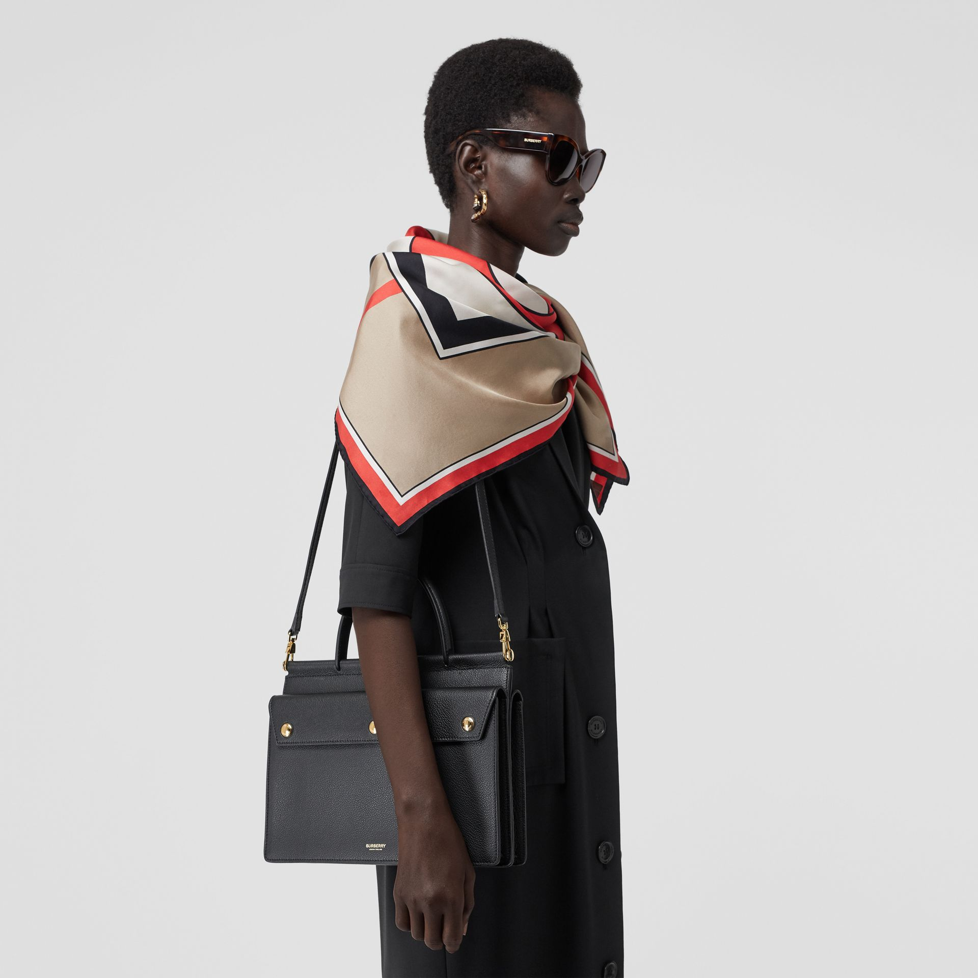 Small Leather Title Bag with Pocket Detail in Black - Women | Burberry Australia - gallery image 2
