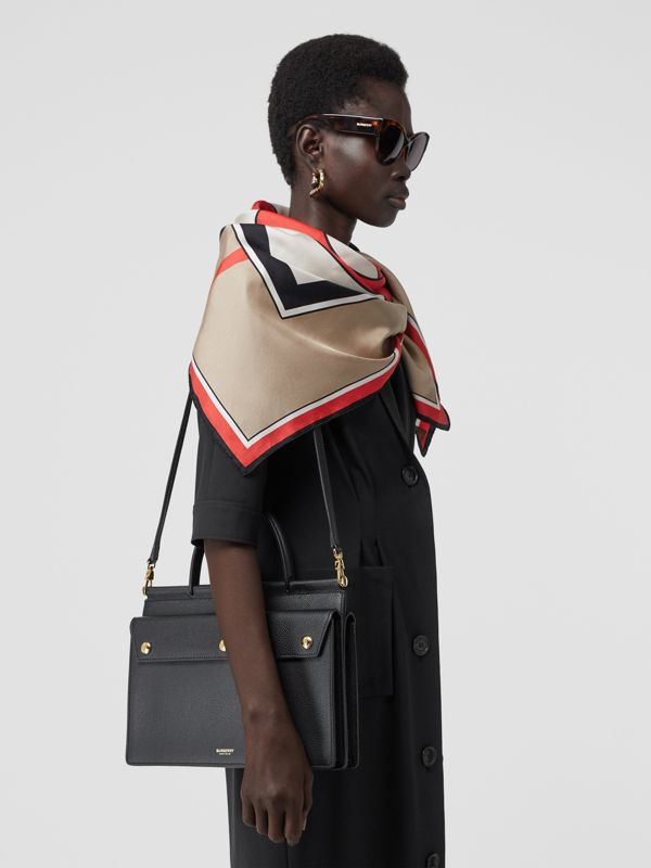Small Leather Title Bag with Pocket Detail in Black - Women | Burberry Australia - cell image 2