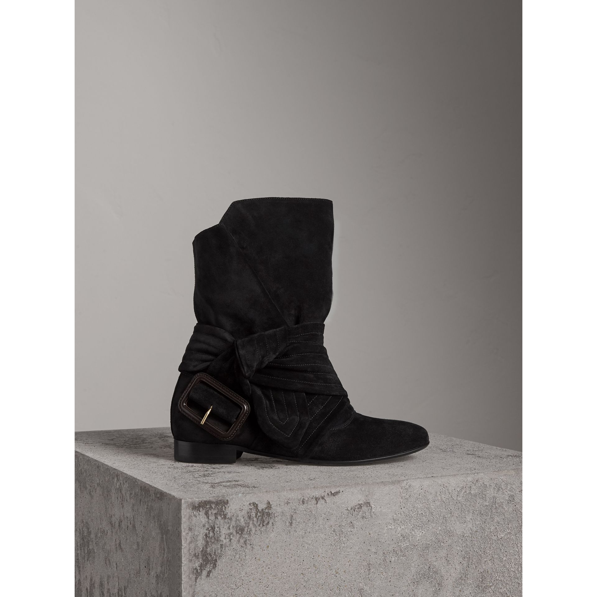 Belt Detail Suede Boots in Black - Women | Burberry - gallery image 1