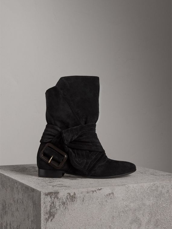 Belt Detail Suede Boots in Black