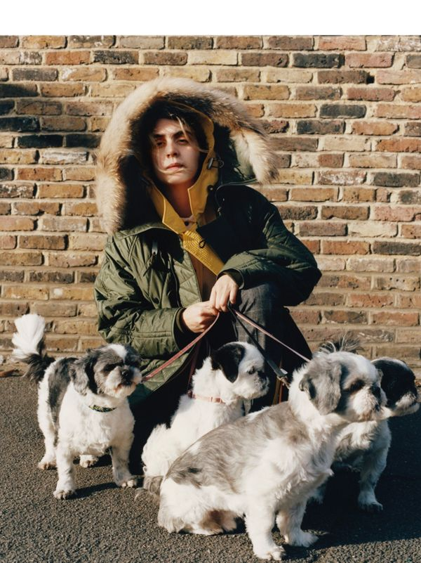 Sammy Khoury with Bugsy, Blondie, Daisy and Twiggy<br>Sammy wears a fur-trimmed parka.