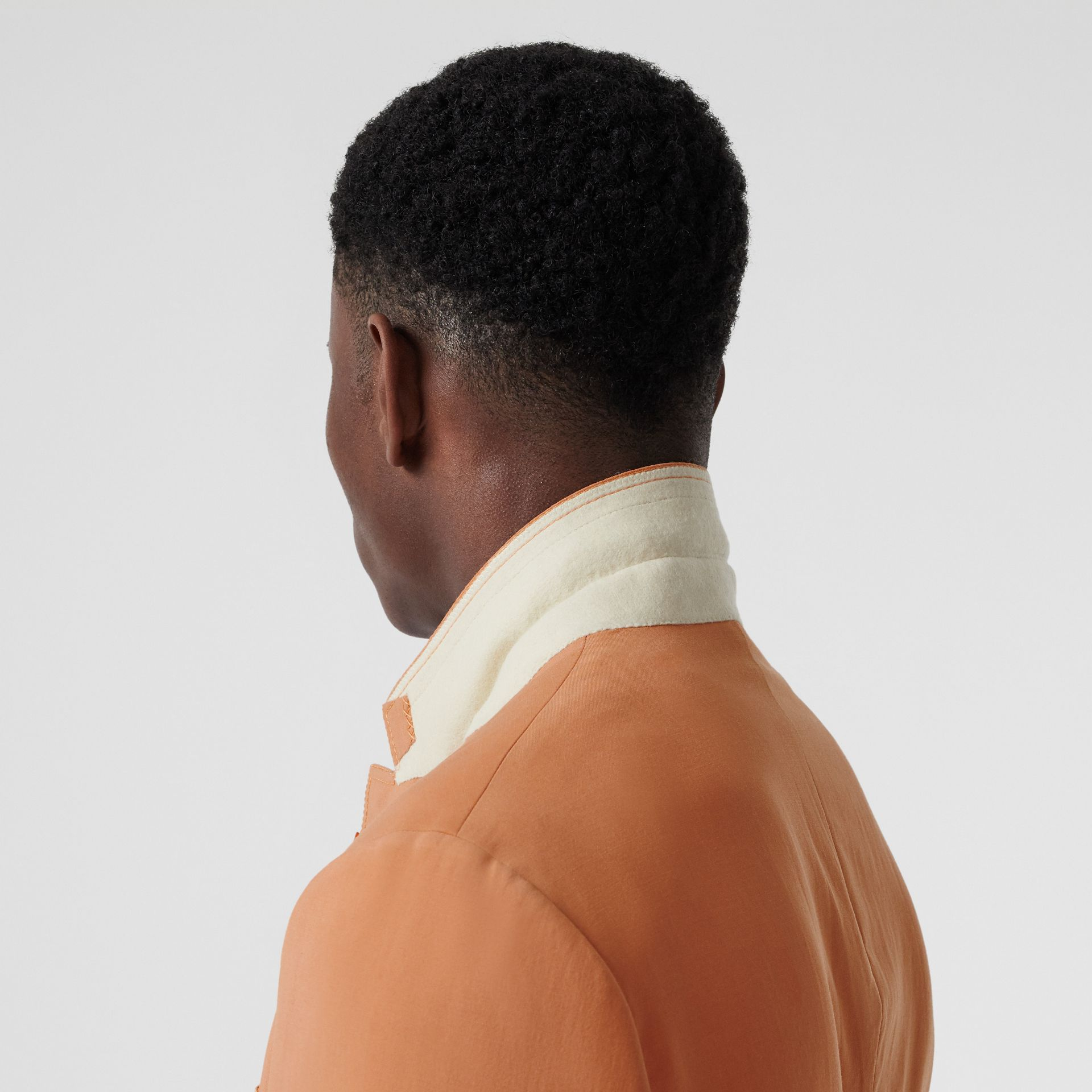 Slim Fit Press-stud Wool Tailored Jacket in Orange | Burberry Australia - gallery image 6