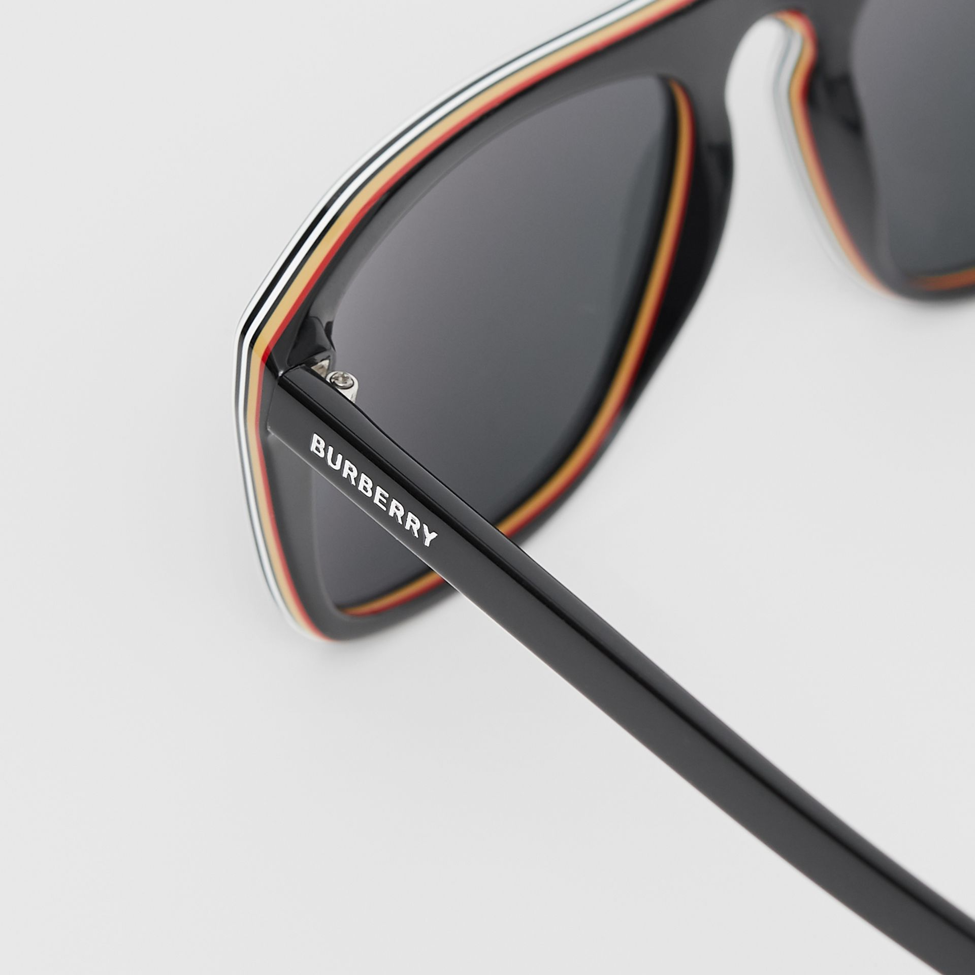 Icon Stripe Detail Square Frame Sunglasses in Black - Men | Burberry United Kingdom - gallery image 1
