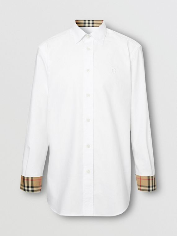 Monogram Motif Cotton Oxford Shirt in White