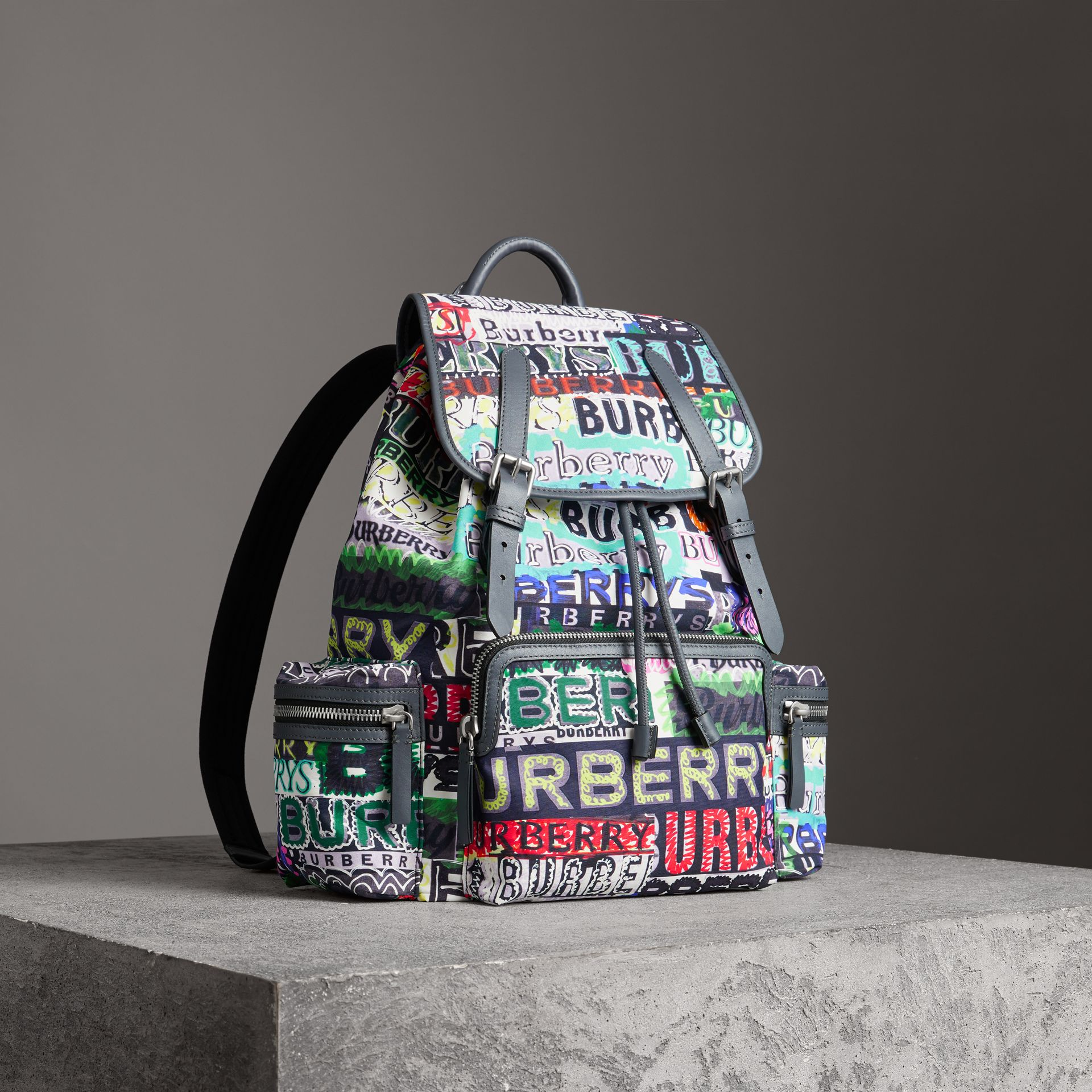 The Large Rucksack in Graffiti Logo Print in Multicolour | Burberry Australia - gallery image 0