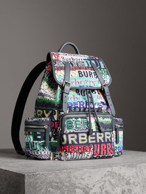 The Large Rucksack in Graffiti Logo Print in Multicolour
