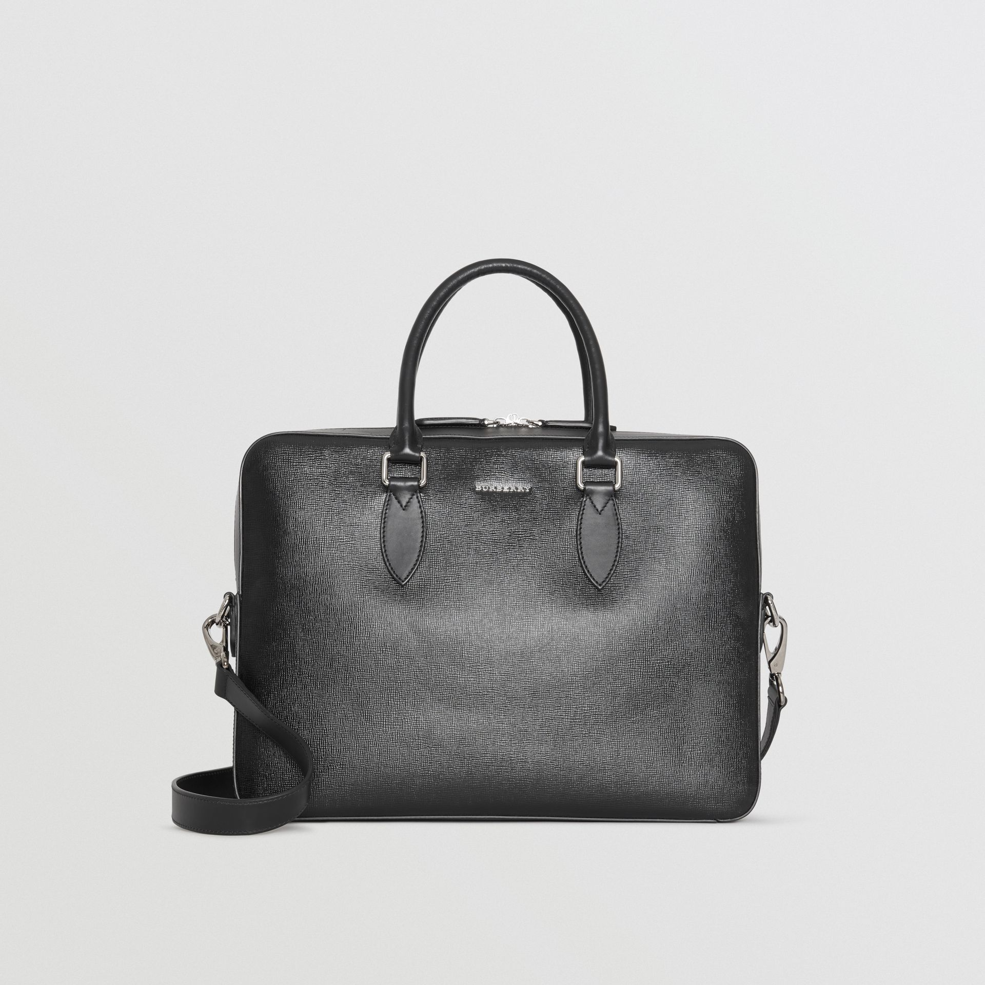 London Leather Briefcase in Black - Men | Burberry United States - gallery image 0